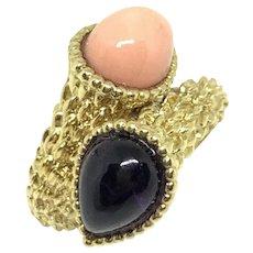 Vintage Boucheron Serpent Boheme Toi Et Moi Coral Amethyst 18K Yellow Gold Ring