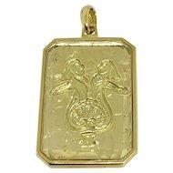 Vintage Cartier Zodiac Pendant Sign Gemini 18k Yellow Gold 1970's