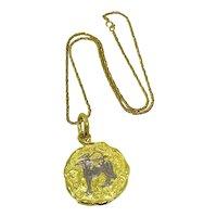 Chaumet Paris 18K Gold Sagittarius Zodiac Pendant Necklace c 1970