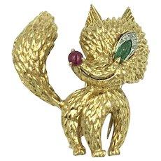 Adorable Van CLeef & Arpels 18K Yellow Gold Ruby Emerald Diamond Fox Brooch