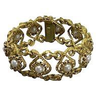 Vintage Tiffany & Co Carlo Weingrill 18k Yellow Gold Pearl Bracelet Circa 1950's