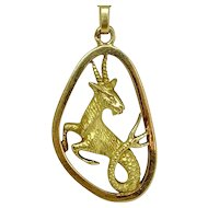 Boucheron 18k Yellow Gold Capricorn Zodiac Pendant