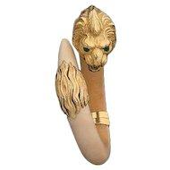 Vintage French Gay Freres 18K Yellow Gold Emerald Lion Bangle Bracelet