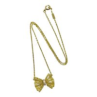 Van Cleef & Arpels 18K Yellow Gold Diamond Lace Bow Necklace