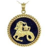 Van Cleef & Arpels 18K Yellow Gold Large Capricorn Zodiac Sign Pendant