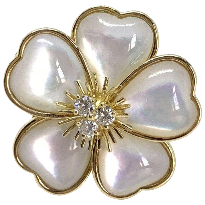 1a2f9ca68a1 Van Cleef   Arpels 18K Yellow Gold Large Mimi Nerval Mother Of Pearl    Signed Baubles