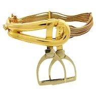 Rare Hermes Paris 18K Gold Stirrup Buckle Bracelet 1970's