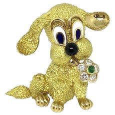 Boucheron 18K Yellow Gold Diamond Emerald Mischievous Puppy Dog Brooch