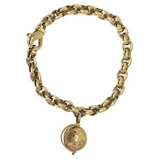 Van Cleef & Arpels 18k Yellow Gold Globe Charm Bracelet