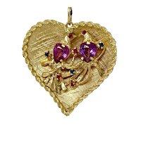 Vintage 14k Yellow Gold Lovebirds Heart Pendant Charm