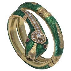 Vintage Enamel Serpent Snake 18K Yellow Gold Diamond Ruby Bracelet