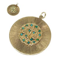 Vintage 14K Yellow Gold Double Sided Libra Pendant Charm