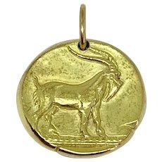 Van Cleef & Arpels 18K Yellow Gold Capricorn Zodiac Sign Pendant