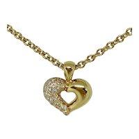 Van Cleef & Arpels 18K Yellow Gold Diamond Heart Pendant Necklace