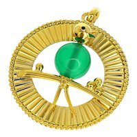 Mellerio Dits Meller Chalcedony 18 Karat Yellow Gold Bird Pendant