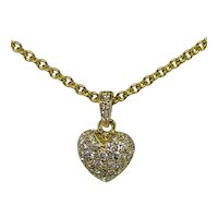Cartier 18K Yellow Gold Diamond Heart Pendant Necklace