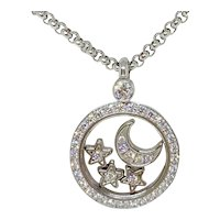 Chopard 18K WG Floating Happy Diamonds Stars and Moon Round Pendant Necklace