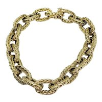 Vintage Boucheron Textured 18k Yellow Gold Link Bracelet