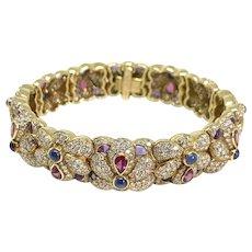 Stunning Mauboussin 18K YG Diamond Ruby Sapphire Amethyst Bracelet