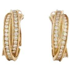 Cartier 18K Yellow Gold Diamond Trinity Hoop Earrings