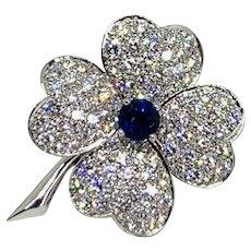 Van Cleef & Arpels 18K White Gold Sapphire Diamond Cosmos Brooch Pendant