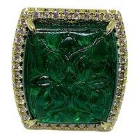 Stunning 18k Yellow Gold Diamond Foliate Carved Emerald Ring