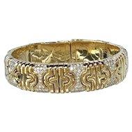 Stunning Bvlgari 18K Yellow Gold Diamond Parentesi Bracelet