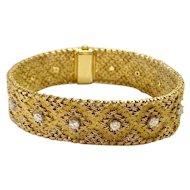 Vintage Georges Lenfant 18k Yellow Gold Diamond Bracelet