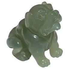 Faberge Bowenite Seated Bulldog Figurine Circa 1900's