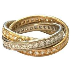 Cartier 18K Tri Color Gold Diamond Eternity Trinity Rolling Ring Sz 6.5