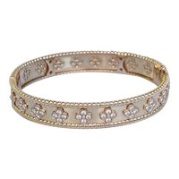 Van Cleef & Arpels 18K Rose Gold Perlee Diamond Bangle Bracelet