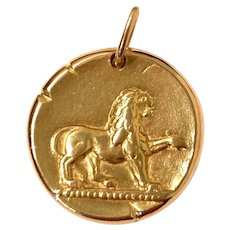 Van Cleef & Arpels 18K Yellow Gold Leo Zodiac Sign Pendant