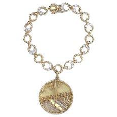 Vintage 18K Yellow Gold Diamond Bracelet With Gubelin Pendant Charm