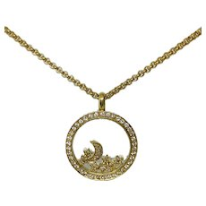 Chopard 18K YG Floating Happy Diamonds Stars and Moon Round Pendant Necklace