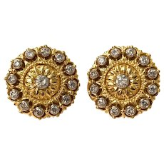 Stunning Buccellati 18k Yellow And White Gold Diamond Button Earrings
