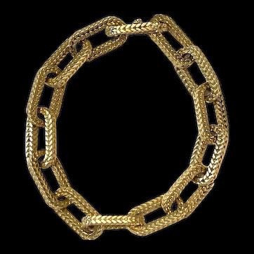 Vintage Georges Lenfant 18k Yellow Gold Textured Link Bracelet