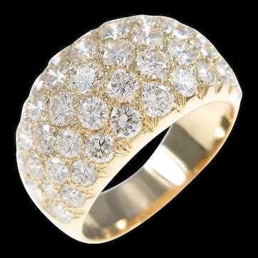 Van Cleef & Arpels 18k Yellow Gold Diamond Wide Band Ring