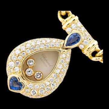 Chopard Happy Diamonds 18K Yellow Gold Sapphire Diamond Necklace