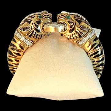 Stunning David Webb 18K YG Platinum Double Tiger Diamond Bangle Bracelet