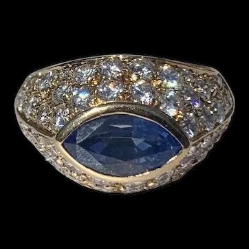 Stunning Bvlgari 18K Yellow Gold Pave Diamond Sapphire Ring