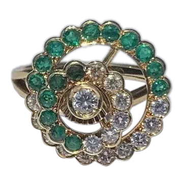 Fred 18K Yellow Gold Diamond and Emerald Spinner Ring