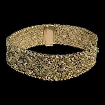 Vintage Georges Lenfant 18k Yellow Gold Diamond Emerald Bracelet