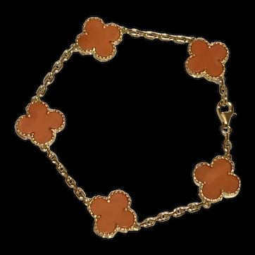 Van Cleef & Arpels 18K Yellow Gold Vintage Alhambra Coral Bracelet