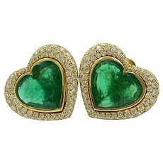 Stunning Seidengang 18K Yellow Gold Diamond Emerald Heart Earrings