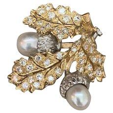 Stunning Buccellati 18k Yellow And White Gold Diamond Pearl Acorn Brooch