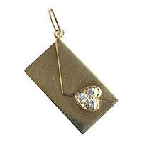 Adorable Cartier 18K Yellow Gold Diamond Heart Letter Open Pendant Charm