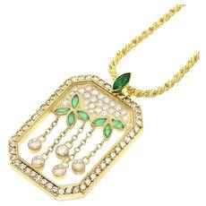 Stunning Chopard Happy Diamonds 18K Yellow Gold Emerald Diamond Necklace