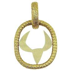"""Georges L""""Enfant For Patek Phillip 18k YG Taurus Zodiac Necklace"""