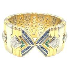 Stunning Chopard 18K Two Tone Gold Diamond Emerald Sapphire Bracelet