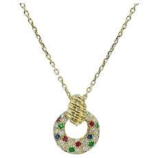 Van Cleef & Arpels 18K Yellow Gold Diamond Sapphire Emerald Ruby Circle Necklace